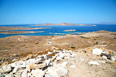 Famous   in  greece the historycal  and old ruin site. In delos         greece the historycal acropolis and         old ruin site Stock Image
