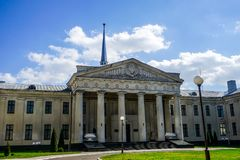 Grodno New Castle. Famous Grodno New Castle Frontal View with Blue Sky Background royalty free stock image