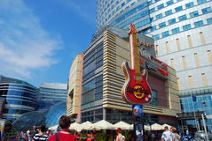Famous guitar - symbol of Hard Rock Cafe in the center of Warsaw Royalty Free Stock Image