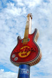 Famous guitar - symbol of Hard Rock Cafe in the center of Warsaw Stock Photography