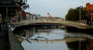 Famous Ha Penny Bridge In Dublin, Ireland Stock Photo