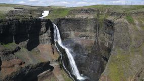 Famous Haifoss waterfall in southern Iceland stock video footage