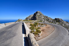 Famous hairpin curve on the road to the village of Sa Calobra. On Mallorca, Spain royalty free stock image