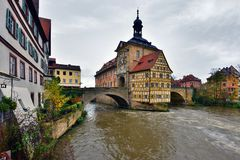 Famous half-timbered house in Bamberg, Germany. Autumn raining day stock photos