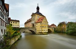 Famous half-timbered house in Bamberg, Germany. Autumn raining day royalty free stock photos