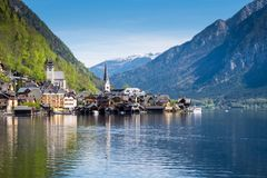 Famous Hallstatt village in Alps and lake at dusk, old architecture, Austria, European travel stock photography