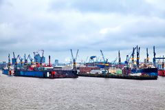 Famous Hamburg Harbor on river Elbe Royalty Free Stock Image