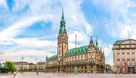 Famous Hamburg town hall at market square at sunset, Germany Royalty Free Stock Image