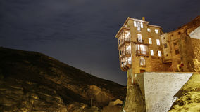 The famous hanging houses at night in Cuenca Royalty Free Stock Photo