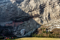 The famous hanging monastery near Datong, Shanxi province, China. Stock Image