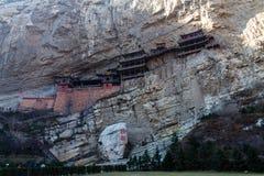 The famous hanging monastery near Datong, Shanxi province, China. stock photo