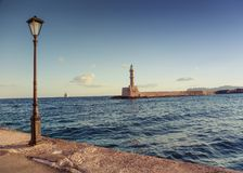 The famous Hania lighthouse. Royalty Free Stock Image