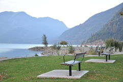 Famous Harrison Hot Springs lake view Stock Photography