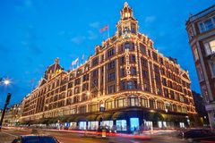 The famous Harrods department store in the evening in London Royalty Free Stock Image