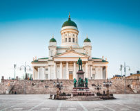 Famous Helsinki Cathedral in evening light, Helsinki, Finland. Beautiful view of famous Helsinki Cathedral in beautiful evening light, Helsinki, Finland royalty free stock photos