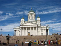 The famous Helsinki Cathedral with green domes Royalty Free Stock Image