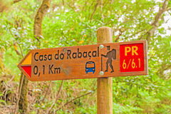 Famous hike trail named Casa do Rabacal - signpost showing the way Royalty Free Stock Photos