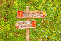 Famous hike trail named 25 Fontes - signpost showing the way Stock Photos