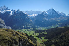 Famous hiking trail from First to Grindelwald (Bernese Alps, Switzerland). Royalty Free Stock Images