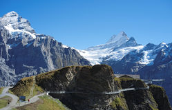 Famous hiking trail from First to Grindelwald (Bernese Alps, Switzerland). Stock Image