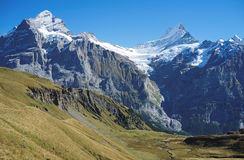Famous hiking trail from First to Grindelwald (Bernese Alps, Switzerland). Royalty Free Stock Photos