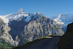 The famous hiking trail from First to Grindelwald (Bernese Alps, Switzerland). Royalty Free Stock Photos