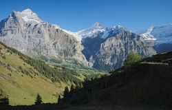 The famous hiking trail from First to Grindelwald (Bernese Alps, Switzerland). Stock Photos