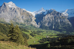 The famous hiking trail from First to Grindelwald (Bernese Alps, Switzerland). Stock Images