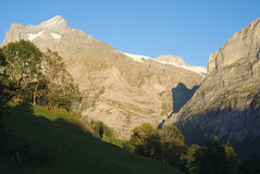 The famous hiking trail from First to Grindelwald (Bernese Alps, Switzerland). Royalty Free Stock Images