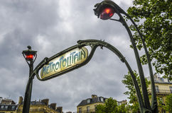 Famous historic Art Nouveau entrance sign for the Metropolitain Royalty Free Stock Photo