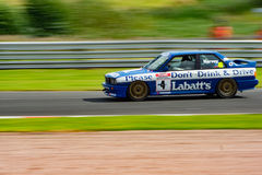 BMW Labatts Drink Driving Campaign. Famous Historic British Touring Car from BTCC, campaign against drink driving at Oulton Park Gold Cup 2017. Bringing drink stock image