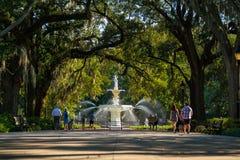 Famous historic Forsyth Fountain in Savannah, Georgia Stock Photography