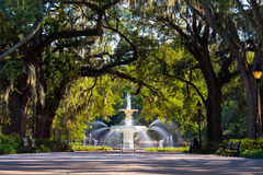 Famous historic Forsyth Fountain in Savannah, Georgia. USA royalty free stock photography