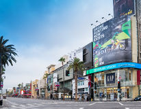 Famous Historic Hollywood Boulevard, California. Famous historic Hollywood Boulevard in Hollywood, California located in the center of the movie making and film Royalty Free Stock Images