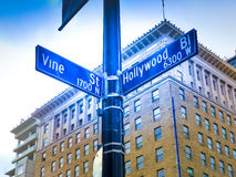 Famous Historic Hollywood Boulevard & Vine Intersection, California Stock Image