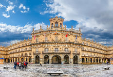 Famous historic Plaza Mayor in Salamanca, Castilla y Leon, Spain. Famous and historic  Plaza Mayor in Salamanca on a sunny day with dramatic clouds, Castilla y Stock Images