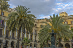 Famous historic Plaza Real in Barcelona, Spain Stock Photography