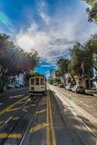Famous Historic traditional cable car in San Francisco. On the rail royalty free stock photos
