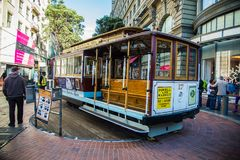 Famous Historic traditional cable car in San Francisco. On turn table stock images