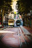 Famous Historic traditional cable car in San Francisco. On the rail stock photography