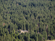 The famous historical Ahwahnee hotel. Aerial view of the famous historical Ahwahnee hotel with forest Stock Image