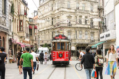 The famous historical tram in the center of Istanbul Stock Photos