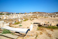 Famous   in  the historycal acropolis and old ruin site. In delos         greece the historycal acropolis and         old ruin site Royalty Free Stock Photos