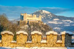 Famous Hohensalzburg Fortress at sunset in winter, Salzburg, Austria Royalty Free Stock Photography