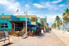 The famous Hollywood Beach boardwalk in Florida Royalty Free Stock Photos