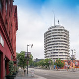 Famous Hollywood Capitol Records. Famous Hollywood Capital Records building designed in the shape of a round record album located on Vine Street in Hollywood Royalty Free Stock Photos