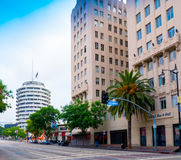 Famous Hollywood Capitol Records. Famous Hollywood Capital Records building designed in the shape of a round record album located on Vine Street in Hollywood Stock Photography