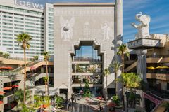 Famous Hollywood Dolby Theatre and Highland Center. Hollywood Dolby Theatre and Highland Center in Downtown Hollywood Boulevard Los Angeles, Hollywood Hills, and stock images