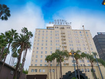 Famous Hollywood Hotel Roosevelt. Exit looking back at the parking lot, entrance and hotel Stock Photos