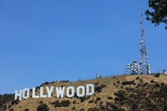 The famous Hollywood Sign on Mount Lee in Los Angeles, seen from Mulholland Drive. CA. USA Stock Image
